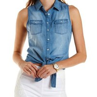 Knotted Button-Up Chambray Top by Charlotte Russe