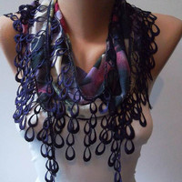 Dark Purple Scarf with Purple Trim Edge