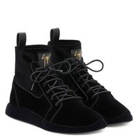 Giuseppe Zanotti Gz Cesar Black Velvet Stretch High-top Sneakers - Best Deal Online