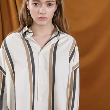 Oversized High Low Striped Blouse
