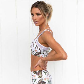 2018 Women Floral Printed Two Piece Set Cropped Camisole Ankle-Length Leggings Fitness Suit Crop Top Women's Tracksuit