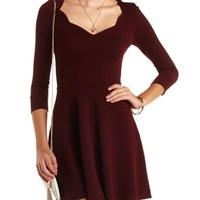 Scalloped Sweetheart Skater Dress by Charlotte Russe - Burgundy