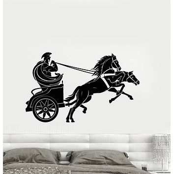 Vinyl Wall Decal Ancient World Chariot Spartan Warrior Stickers (3230ig)