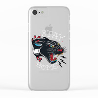 Stay Home Panther Tattoo Clear iPhone Case by Lostanaw