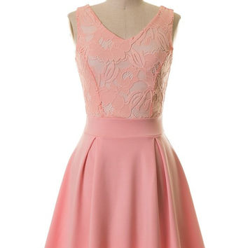 Elegance and Lace Dress - Peach