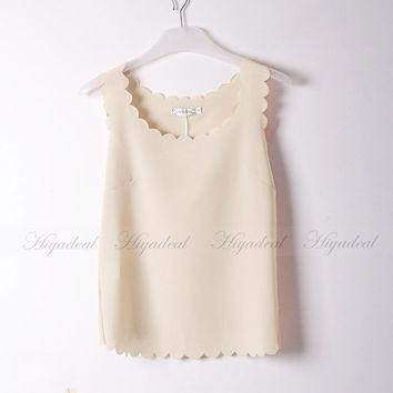 Fashion loose Colorful Chiffon Sleeveless Vest Tank Casual Shirt Blouse T-shirt Nude = 1958081604