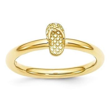 Sterling Silver Stackable Expressions Yellow Gold Plated Flip Flop Ring