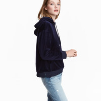 Velour Hooded Top - from H&M