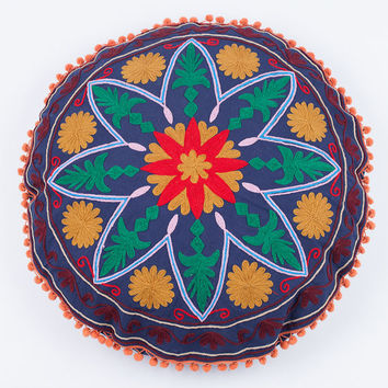Round Star Pillow in Blue