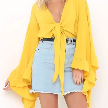 Yellow Knot Front Extreme Ruffle Sleeve Blouse