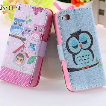 KISSCASE For iPhone 4s Case Chic Wallet Stand Flip Leather Case For iPhone 4s 4 4G Bird Crown Phone Accessories Owl Cute Cover