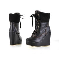 Fashion Women's Hight Heels Platform Lace-up Ankle Boots Wedges Shoes
