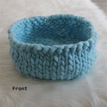 Newborn Posing Basket Knitted Thick Yarn Basket Newborn Bowl Cocoon Baby Photo Prop