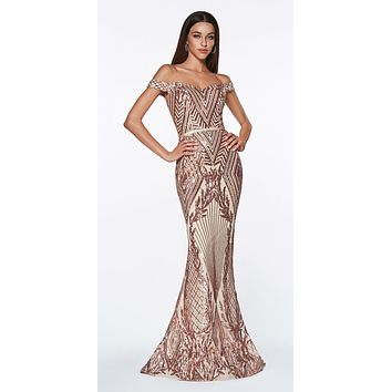 CLEARANCE - Off The Shoulder Rose Gold Gown Geometric Sequin Detail Sweetheart Neckline (Size 4)