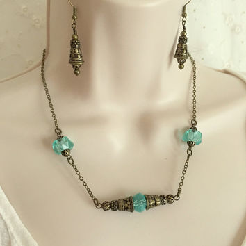 Antique Brass and Blue Crystal Necklace and Earring Set, Minimalist Jewelry, Gift for her, Women's Jewelry, Unique Jewelry