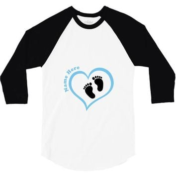 Custom baby boy name maternity design 3/4 Sleeve Shirt