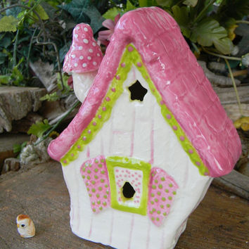 Fairy Garden Chalet  House Ceramic Fushia Pink & Green muscari Fly mushroom chimney - fantasy  room decor