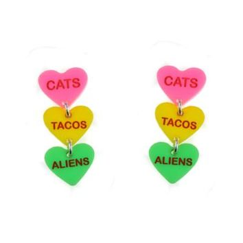 Cats Tacos Aliens Candy Heart Post Dangle Earrings