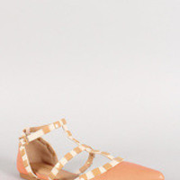 Shoe Republic Studded Strap Buckle Pointy Toe Flat