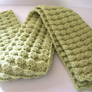 Crochet Scarf Crochet Green Scarf by pigswife on Etsy