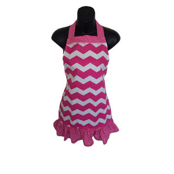 Pink Chevron Kids Apron // Size 4-6-8-Young Adult