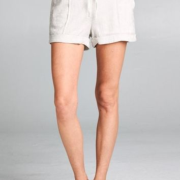 Mae Cotton Linen Shorts in Off White