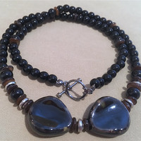 Men's Jet Black Glass w/ Brown Glass, Silver Accents Unique Focal Beads Necklace, Handmade Original Design Unisex Necklace Holiday Gift Idea