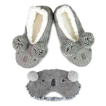 TeeHee Fun and Cozy Winter Pom Pom Slipper Shoes with Eyeshade for Women