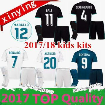 2017 2018 kids Kits Real Madrid home Soccer Jersey 17 18 Campeones Ronaldo Bale Football uniforms SERGIO RAMOS ISCO Away 3RD Football Shirt
