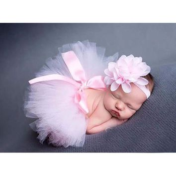 Top Sale 10 Colors Baby Girl Tulle Tutu Skirt and Flower Headband Set Newborn Photography Props bebe Birthday Gift ZT001