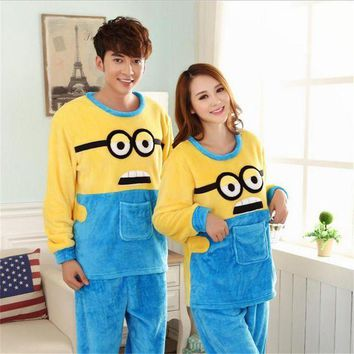 CREYCI7 Autumn/winter Women High-quality Flannel pajamas lovers nightgown Set Home leisure Cartoon despicable Me Long-sleeved nightgown