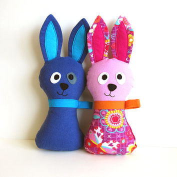 Stuffed Bunny Pattern - Hoppy Loppy Rabbit PDF Sewing Tutorial for Soft Toy Baby Gift with Lop Eared Option