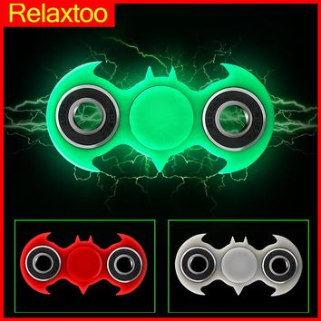 Batman Spiderman Hand Spinner Luminous Tri Fidget Spinner Glowing Light in Dark Finger Spinners Cube Focus ADHD Anti Stress Toys
