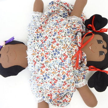 cloth rag doll reversible African American topsy turvy flip flop doll UP618