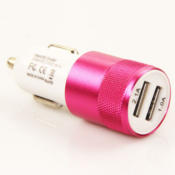 Aluminium dual usb 2-port USB Universal Car Charger Adapter for Normal Usb phone Free shipping