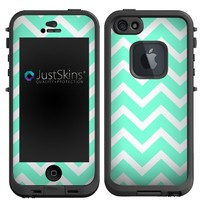 Skin Decal for Lifeproof iPhone 5 Case Teal Green Chevron Design (Case not included)