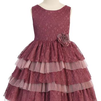 Girls Mulberry Floral Lace Dress w. Tiered Lace & Tulle Skirt 2T-12