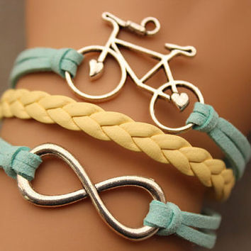 Bike bracelet &infinity bracelet antique silver pendant,green rope and yellow braid bracelet(AB004)