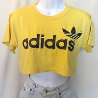 VINTAGE Adidas Crop Top Classic Logo Gym Shirt Made In U.S.A. 80's 70's Rare S-M