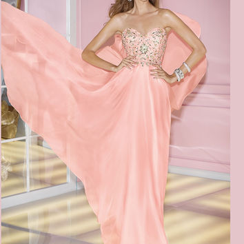 Sweetheart Beaded Top Bodice Flowy Chiffon Prom Dress By Alyce Paris 6227