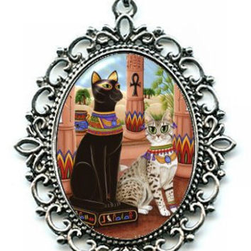 Egyptian Mau Bast Cat Necklace Egypt Bastet Statue Goddess Cat Cameo Pendant 40x30mm Gift for Cat Lovers Jewelry
