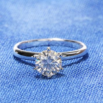 14KT White Gold Simplicity Solitaire 1 Carat Round Lab Diamond Ring
