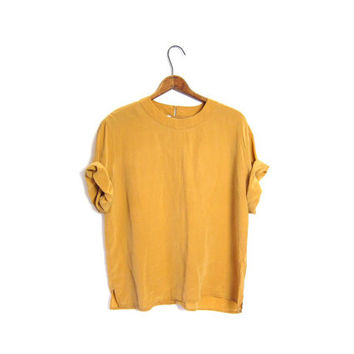 Boxy Silk Blouse Cropped 90s Butternut Yellow Top Slouchy Tee Minimal Modern Tshirt Crop Top Vintage Medium