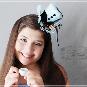 Alice Mini Hat , Mad Hatter Hat , Tea Party Hat , Mini Top Hat Fascinator , Mini Hat Headband