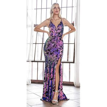 Long Slim Fit Sequin Gown With Iridescent Finish And Lace Up Back