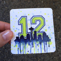 Seattle Seahawks 12th Man STICKERS; Space Needle Art; Durable Vinyl Weatherproof; Sports Fan Decal
