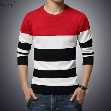 WZZAE Men Sweaters Winter 2017 Slim Knitted Knitting New Brand Tops Fashion Pullover Man Knitwear Casual Pull Homme Size M-XXL