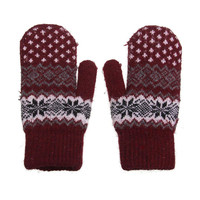 Burgundy Mittens with Geometric Print