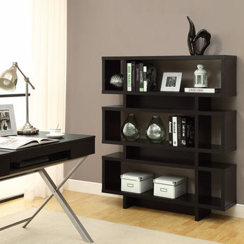 "Cappuccino Hollow-Core 55""H Modern Bookcase"