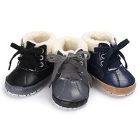 1 Pair High Quality Baby Girls Boys Soft Sole PU Leather Snow Boots Warm Crib Anti-slip Toddler Shoes #ES